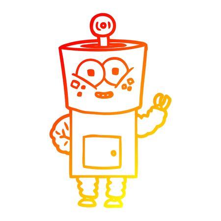 warm gradient line drawing of a happy cartoon robot waving hello