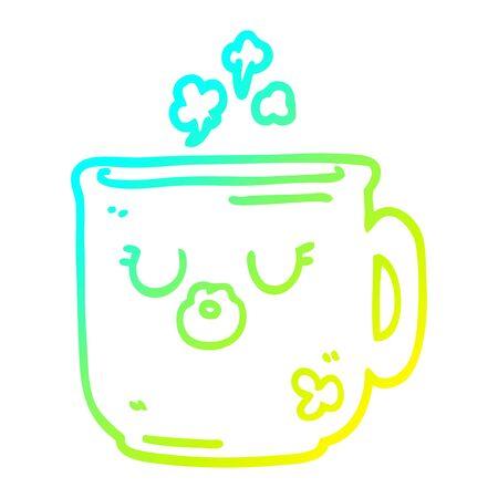 cold gradient line drawing of a cartoon hot coffee mug