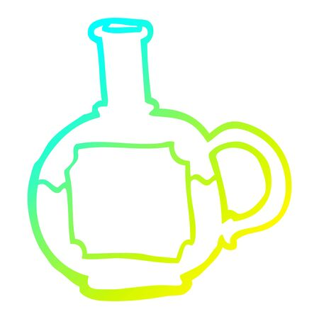 cold gradient line drawing of a cartoon food bottle