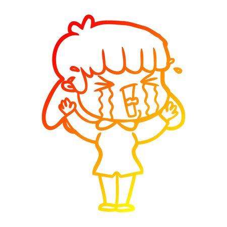 warm gradient line drawing of a cartoon woman in tears