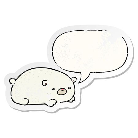 cute cartoon polar bear with speech bubble distressed distressed old sticker
