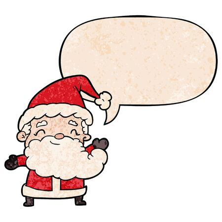 cartoon santa claus with speech bubble in retro texture style
