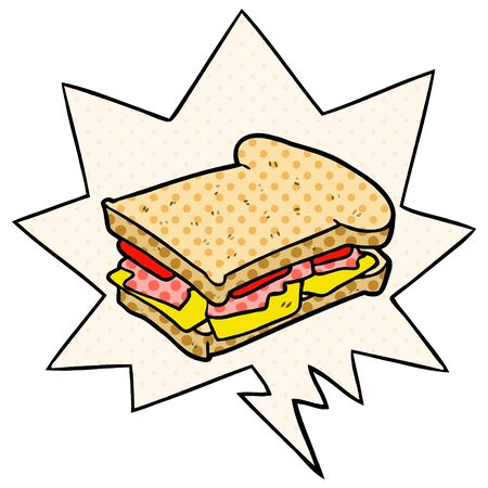 cartoon ham cheese tomato sandwich with speech bubble in comic book style