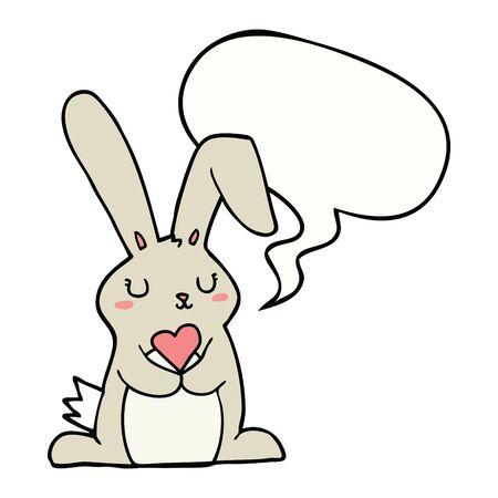 cartoon rabbit in love with speech bubble 向量圖像
