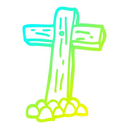 cold gradient line drawing of a cartoon wooden cross