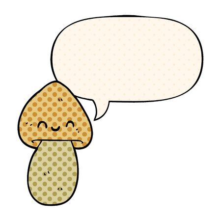 cartoon mushroom with speech bubble in comic book style 向量圖像