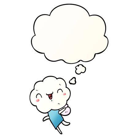 cute cartoon cloud head creature with thought bubble in smooth gradient style