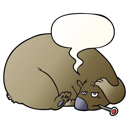 cartoon bear with a sore head with speech bubble in smooth gradient style Illusztráció