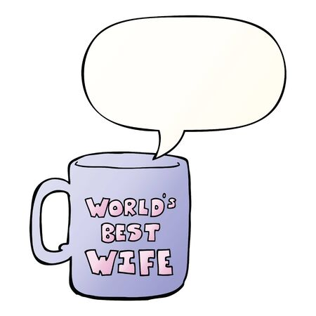 worlds best wife mug with speech bubble in smooth gradient style