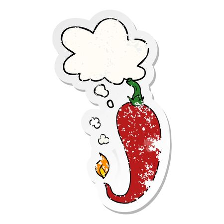 cartoon chili pepper with thought bubble as a distressed worn sticker Illustration