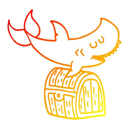 warm gradient line drawing of a cartoon shark swimming over treasure chest