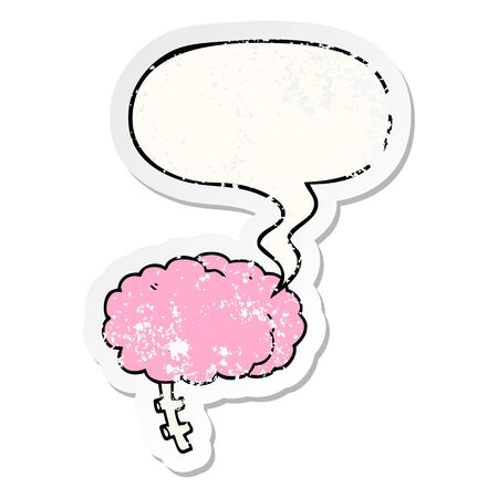 cartoon brain with speech bubble distressed distressed old sticker