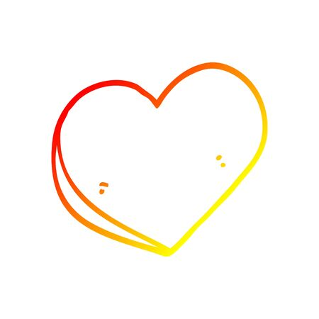 warm gradient line drawing of a cartoon love heart