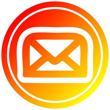 envelope letter circular icon with warm gradient finish Ilustracja