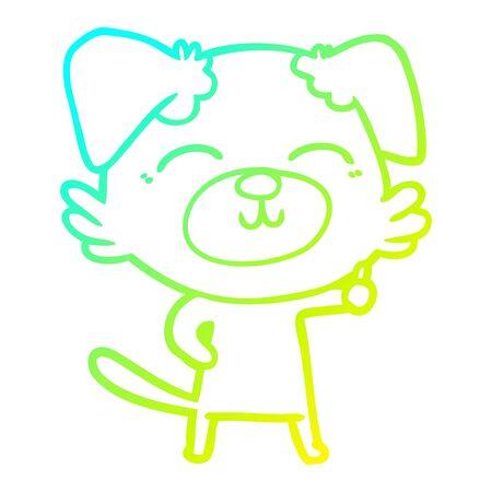 cold gradient line drawing of a cartoon dog Ilustração