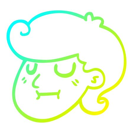 cold gradient line drawing of a cartoon girls face Illustration