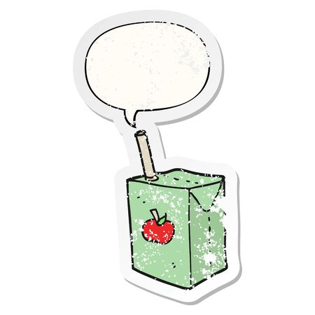 cartoon apple juice box with speech bubble distressed distressed old sticker