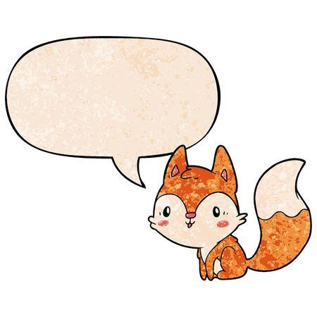 cute cartoon fox with speech bubble in retro texture style