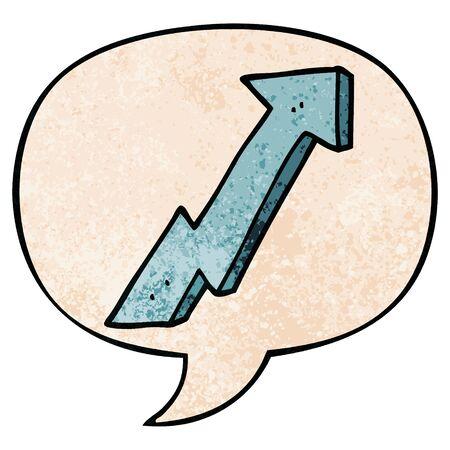 cartoon positive growth arrow with speech bubble in retro texture style