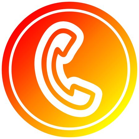 telephone handset circular icon with warm gradient finish