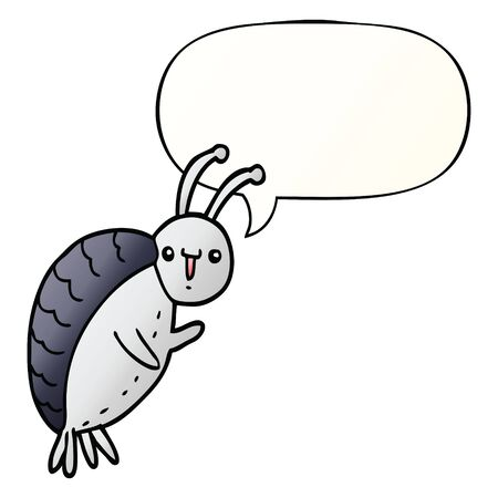 cartoon beetle with speech bubble in smooth gradient style Foto de archivo - 128597309