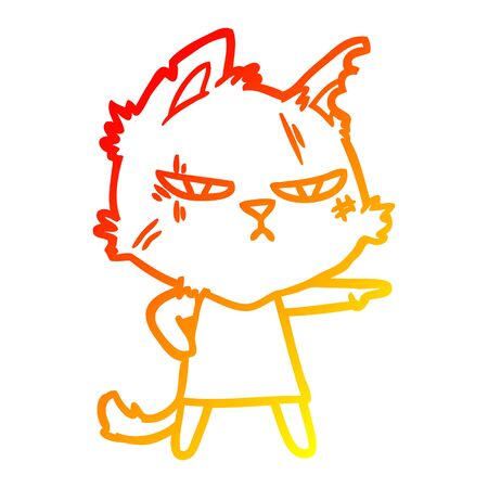 warm gradient line drawing of a tough cartoon cat girl pointing