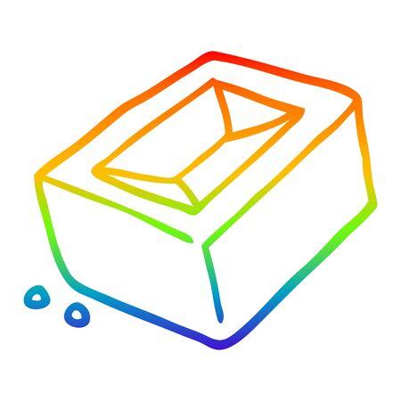 rainbow gradient line drawing of a cartoon brick