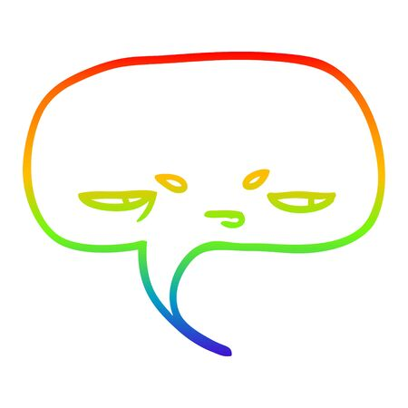 rainbow gradient line drawing of a cartoon speech bubble with face