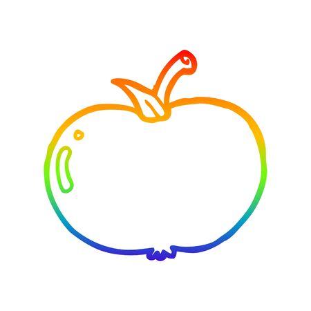 rainbow gradient line drawing of a cartoon apple Ilustracja