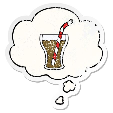 cartoon glass of cola with thought bubble as a distressed worn sticker  イラスト・ベクター素材