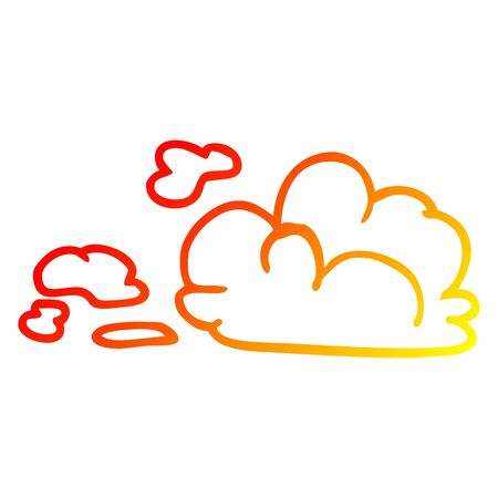 warm gradient line drawing of a cartoon fluffy white clouds 向量圖像