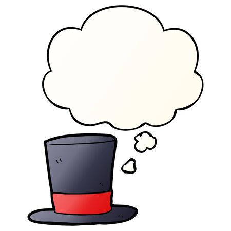cartoon top hat with thought bubble in smooth gradient style