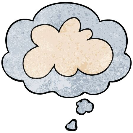 cartoon decorative cloud symbol with thought bubble in grunge texture style