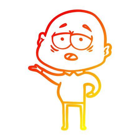 warm gradient line drawing of a cartoon tired bald man 向量圖像