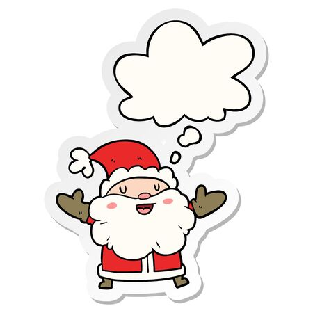 cartoon santa claus with thought bubble as a printed sticker Banque d'images - 128597344