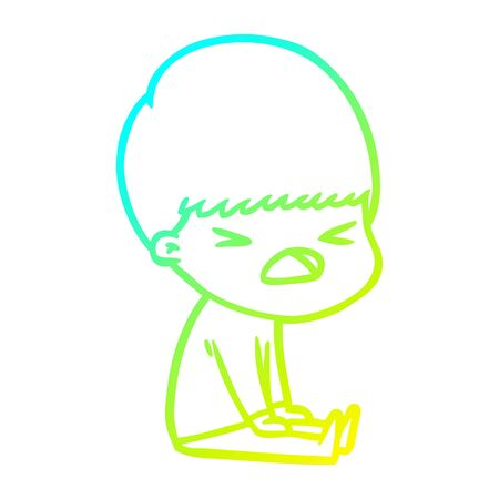 cold gradient line drawing of a cartoon stressed man 矢量图像