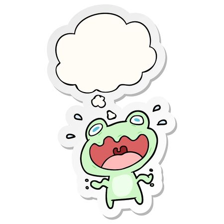 cartoon frog frightened with thought bubble as a printed sticker Illustration