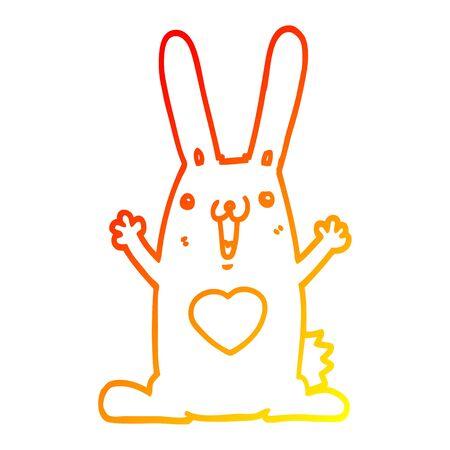 warm gradient line drawing of a cartoon rabbit in love Ilustracja