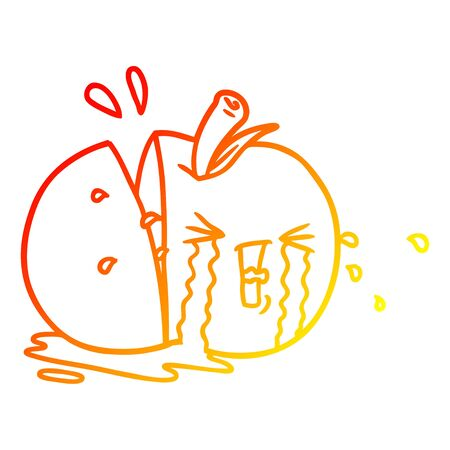 warm gradient line drawing of a cartoon apple crying