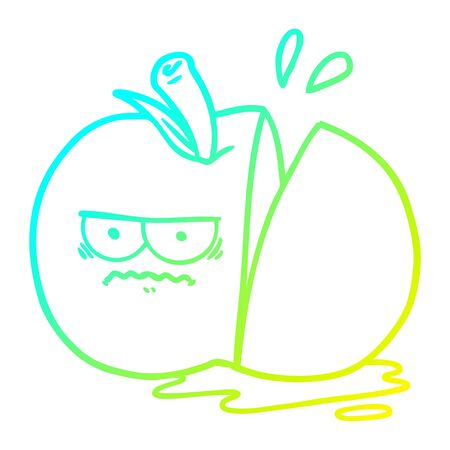 cold gradient line drawing of a cartoon angry sliced apple 일러스트