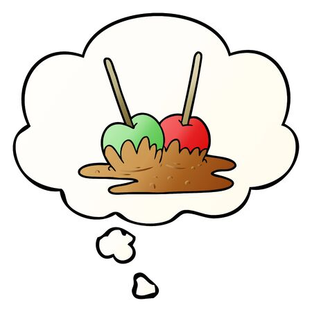 cartoon toffee apples with thought bubble in smooth gradient style
