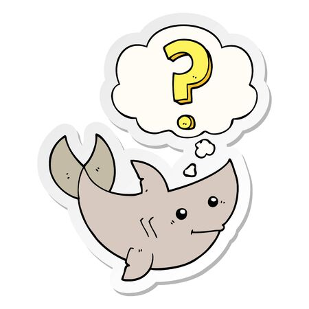 cartoon shark asking question with thought bubble as a printed sticker