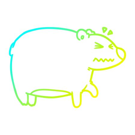 cold gradient line drawing of a cartoon bear with a sore head