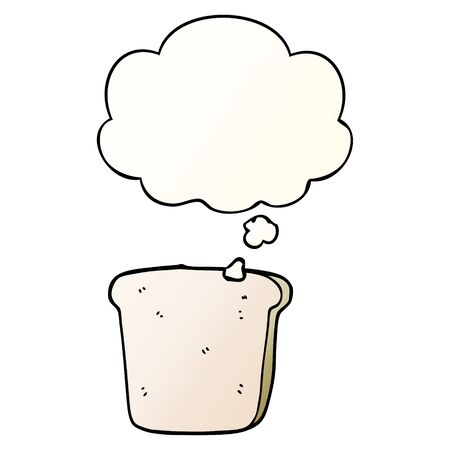 cartoon slice of bread with thought bubble in smooth gradient style Stock fotó - 128600523