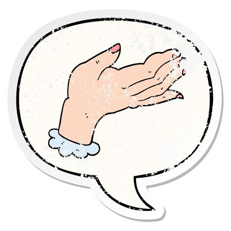 cartoon hand with speech bubble distressed distressed old sticker 向量圖像