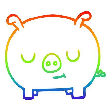 rainbow gradient line drawing of a cartoon happy pig Ilustração