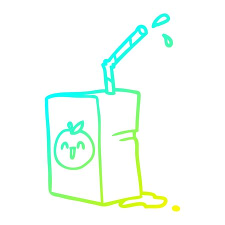 cold gradient line drawing of a apple juice box