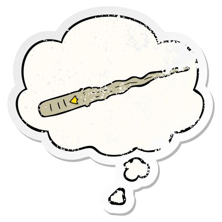 cartoon magic wand with thought bubble as a distressed worn sticker Ilustração