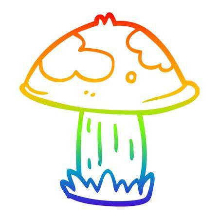 Ligne de dégradé arc-en-ciel dessin d'un champignon vénéneux de dessin animé Vecteurs