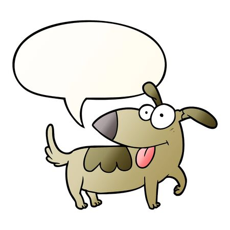 cartoon happy dog with speech bubble in smooth gradient style Ilustração